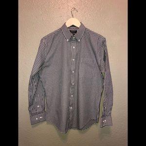 Black/white gingham button down non-iron shirt